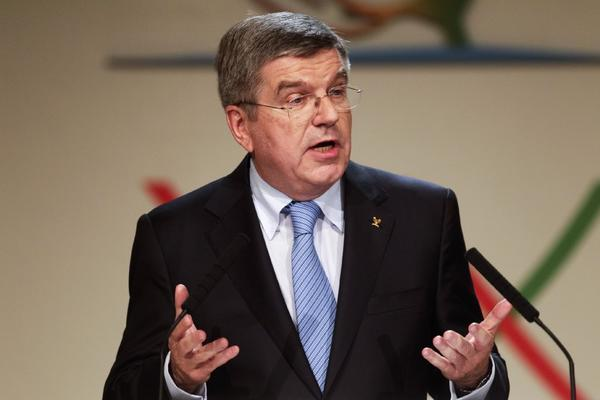 Thomas Bach of Germany speaks after being named president of the International Olympic Committee.