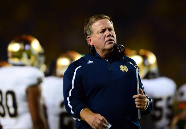 Notre Dame head coach Brian Kelly on the sidelines during the fourth quarter against Michigan.