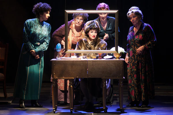 "Nicole Parker, center, as Fanny Brice in ""Funny Girl,"" with Jean Kauffman, Carol Kline, Jill Van Velzer and Helen Geller."