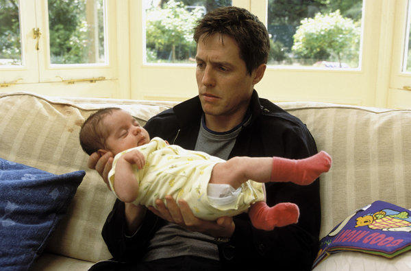 """A new study links smaller testes size to greater involvement in child rearing. In the movie """"About a Boy,"""" above, a carefree London bachelor played by Hugh Grant does not yearn for fatherhood."""