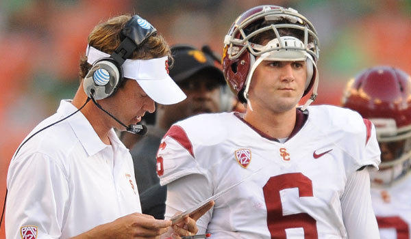 USC Coach Lane Kiffin, left, has chosen Cody Kessler as the Trojans' starting quarterback.