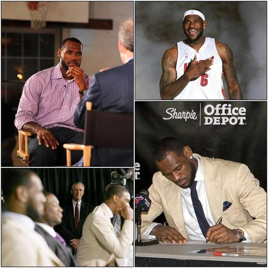 "The last time LeBron signed (clockwise from top left): First came ""The Decision,"" followed by a celebration at AmericanAirlines Arena, which came moments after his formal signing, on a night that also included his introductory Heat media session. (File)"