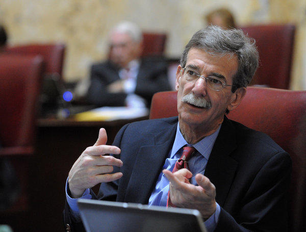 Sen. Brian E. Frosh is pictured during the debate. Senators debate before voting to pass the Firearm Safety Act of 2013.