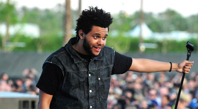 INDIO, CA - APRIL 15: The Weeknd (aka Abel Tesfaye) performs during Day 3 of the 2012 Coachella Valley Music & Arts Festival held at the Empire Polo Club on April 15, 2012 in Indio, California. (Photo by Frazer Harrison/Getty Images for Coachella) ORG XMIT: 142806083