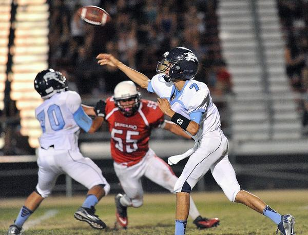 Crescenta Valley High quarterback Brian Gadsby threw a career-high six touchdowns in the Falcons' season-opening 54-20 victory at Verdugo Hills on Friday. Gadsby was lauded for his efforts at Tuesday afternoon's Glendale YMCA Quarterback Club. (Roger Wilson/Staff Photographer)