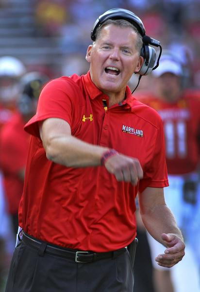 Maryland head coach Randy Edsall yells at the game officals over the lack of a pently call against Old Dominion. He'll be back in East Hartford on Saturday.