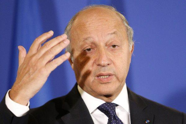 French Foreign Minister Laurent Fabius speaks at a news conference in Paris on the situation in Syria.