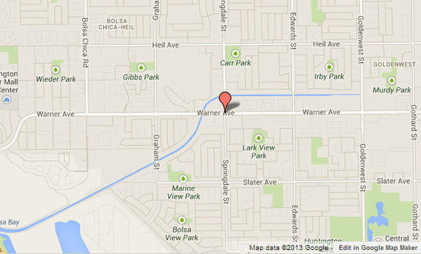 Approximate location where a woman was fatally struck by a tractor-trailer in Huntington Beach.