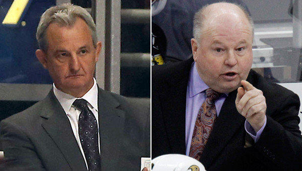 Kings coach Darryl Sutter, left, and Ducks coach Bruce Boudreau are relative newcomers to their respective franchises, and they haven't had the opportunity to run a full preseason camp while in Southern California -- until now.