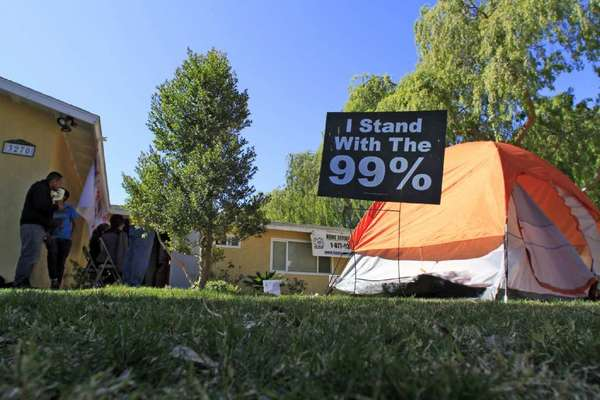 Occupy Wall Street protesters in Riverside in 2012.