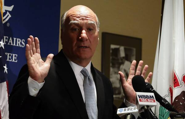 Democratic governor candidate Bill Daley criticizes Gov. Pat Quinn at a Tuesday news conference at the Union League Club in Chicago. Daley contended spending on the state Capitol renovation was an indication of mismanagement by Quinn.