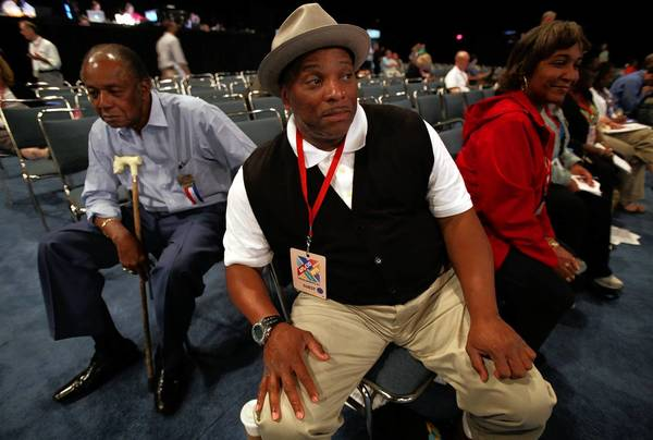 William Lucy, left, of Washington, D.C., and Eldrid Davis of Columbus, Ohio, attend the AFL-CIO convention in Los Angeles.