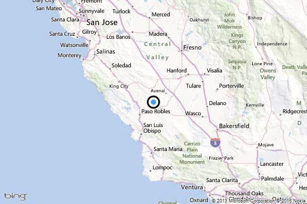 A map shows the location of the epicenter of Tuesday's quake near Shandon, Calif.