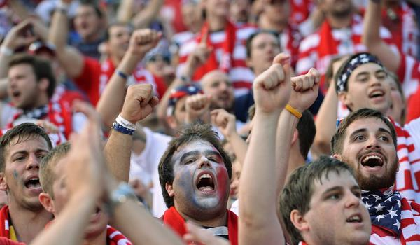 Fans cheer during Tuesday's World Cup qualifying match between the United States and Mexico.