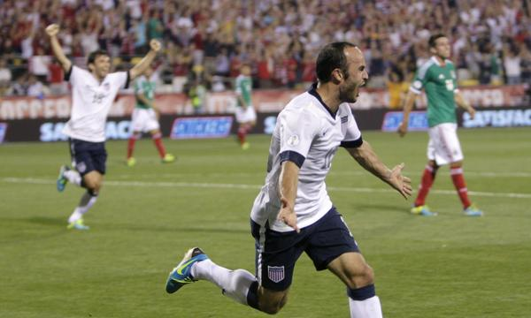 Landon Donovan celebrates after scoring in the second half of the United States' 2-0 win over Mexico in a World Cup qualifying match on Tuesday.