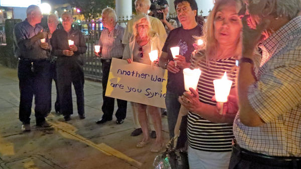 The Armenian National Committee of America of Glendale held a candlelight vigil in opposition of U.S. military intervention in Syria on Monday, September 9, 2013.