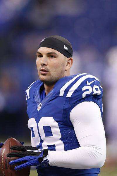 Tom Zbikowski watches during the 2012 season with the Indianapolis Colts.