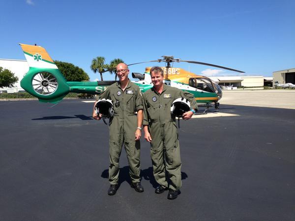 Broward Sheriff's flight medics Robert Thompson and Lt. Eric De Lotta at the BSO hangar at Fort Lauderdale Executive Airport.