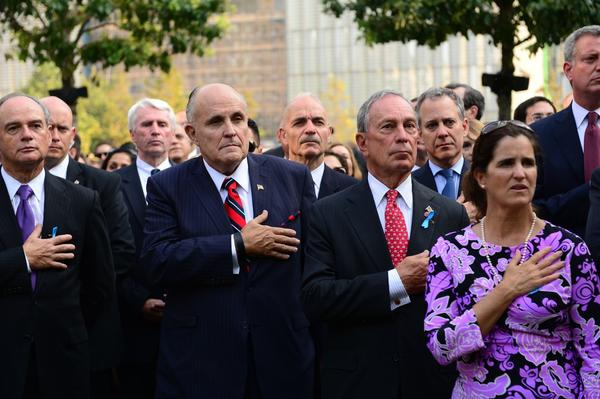 Former New York Mayor Rudy Giuliani, (C) and current New York Mayor Michael Bloomberg (R) attend the 9/11 Memorial during ceremony marking the 12th Anniversary of the attacks on the World Trade Center in New York,on September 11, 2013. AFP PHOTO/POOL/David HandschuhDavid Handschuh/AFP/Getty Images ORG XMIT: