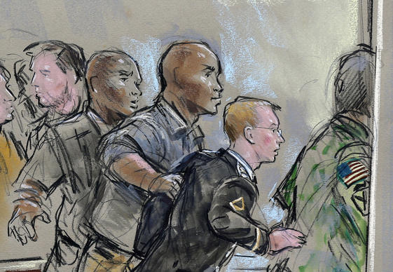 In this courtroom sketch, Army Pfc. Chelsea Manning is escorted out of a courtroom after receiving a sentence of 35 years in prison for leaking classified materials to WikiLeaks in a hearing in Ft. Meade, Md.