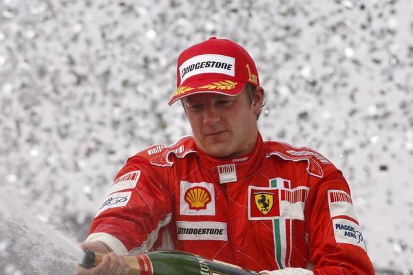 Kimi Raikkonen celebrates a victory in 2007.