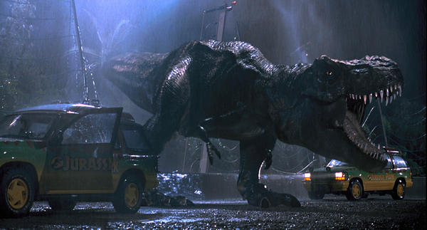 "A T-Rex on the loose in the original ""Jurassic Park."""