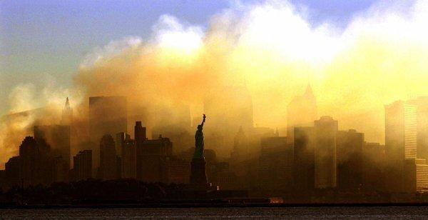 Manhattan, shrouded in smoke from the collapse of the World Trade Center, four days after the Sept. 11, 2001 terrorist attacks.