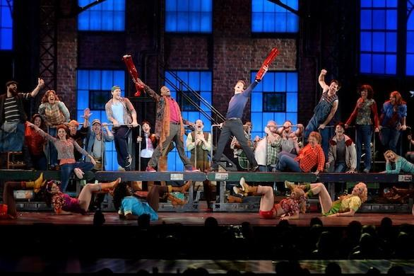 "The cast of the Broadway show ""Kinky Boots,"" performing at the Tony Awards at Radio City Music Hall on June 9 in New York City."