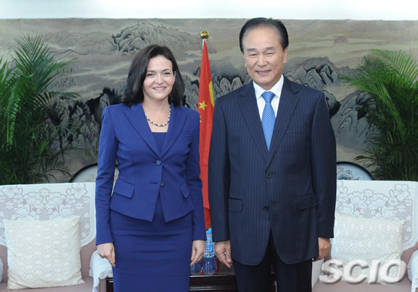 Facebook Chief Operating Officer Sheryl Sandberg met with Cai Mingzhao, head of China's State Council Information Office.