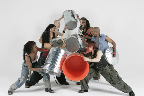 "Cast members of the show ""Stomp,"" which will return to Los Angeles in December."