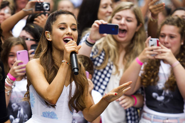 "Ariana Grande, performing here on NBC's ""Today"" show, debuted at No. 1 on the Billboard 200 with her album ""Yours Truly."""