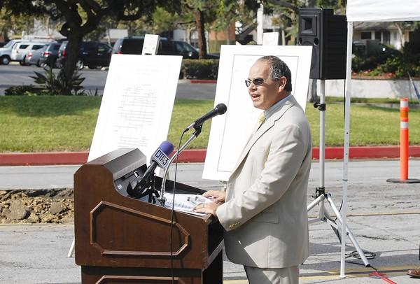 Costa Mesa Public Services Director Ernesto Munoz says a few words about the new street-improvement project on the 300 block of Paularino Avenue in Costa Mesa.