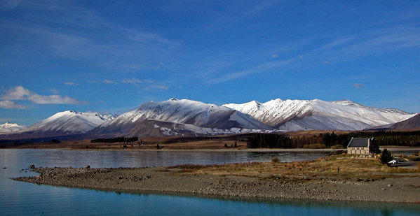 Lake Tekapo on the South Island sits up against the frosted peaks of New Zealand's Southern Alps.
