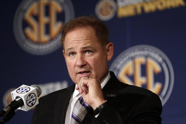 "Les Miles, seen here in July, said Wednesday of the Sports Illustrated report alleging improprieties at Oklahoma State during his tenure there that he objected that ""somebody would characterize the program that was run there as anything but right and correct."""