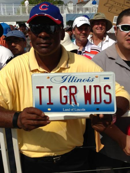 Jeffery Goree displays the license plate that caught Tiger Woods' attention Wednesday. It reads TI GR WDS.