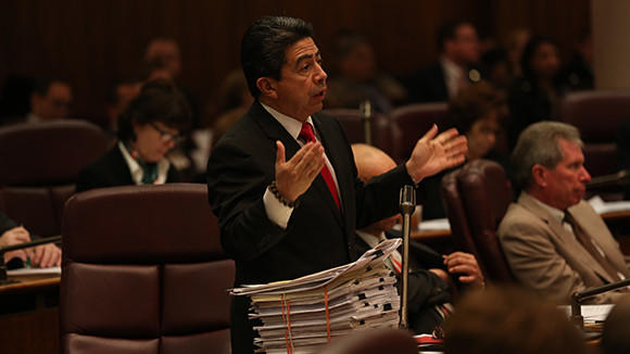Ald. Daniel Solis, 25th, apeaks at a city countil meeting late last year.