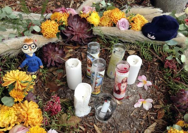 A roadside memorial to UCLA football player Nick Pasquale is seen near where he was struck and killed by a car on Camino De Los Mares in San Clemente.