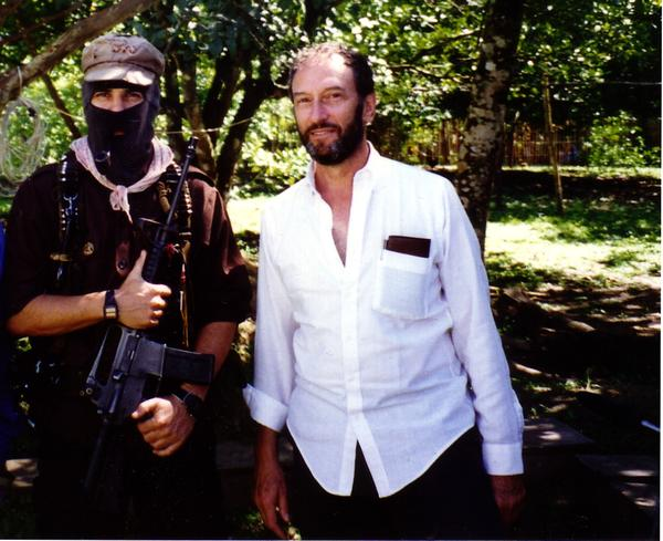 Subcomandante Marcos, leader of the Zapatista Army of National Liberation, left, and Saul Landau in Chiapas, Mexico, in 1995.