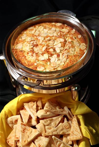 Fenwick's Hot Crab Dip is topped with almonds.
