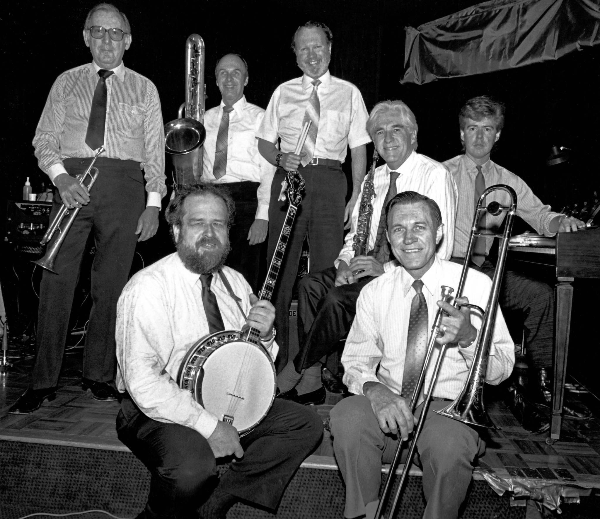 Don Nelson, second from right in back row, performed in the 1980s and '90s as a soprano saxophonist, vocalist and composer for the Los Angeles-based Great Pacific Jazz Band. Also shown in 1987 are band members, back row from left, Rubin Zarchy, Jack Wadsworth, Burr Middleton and Jim...
