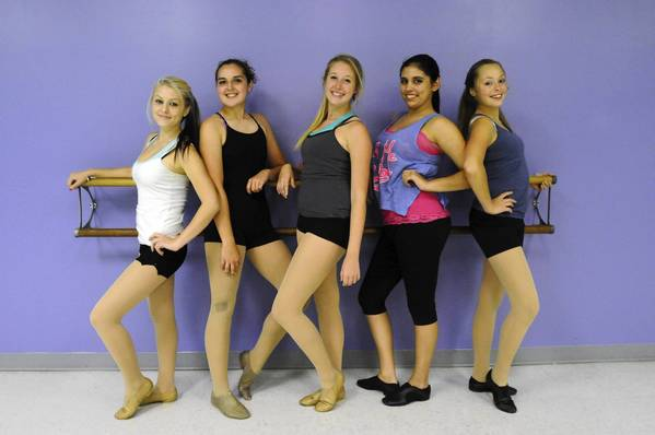 From left, Taylor Clark, 16, Marina Lajoie, 16, Kristen Ehrhardt, 17, Lindsay Veilleux, 16, and Angelique Bizier, 14, at Kathy's Dance Dynamic in Enfield Wednesday.