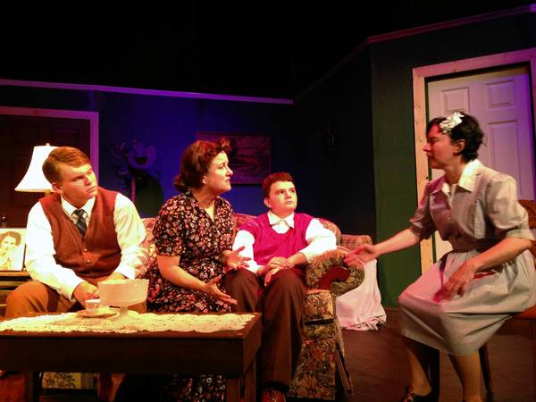 """Cast of the Bay Street Players' production of """"Lost in Yonkers,"""" from left, From left Robby Simpson, Liz Curtis, Kirk Simpson and Chasteen Mullins."""