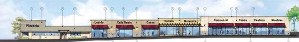 A proposed rendering of a renovation of the shopping center on Foothill Boulevard, across the street from Ralphs in La Cañada Flintridge.