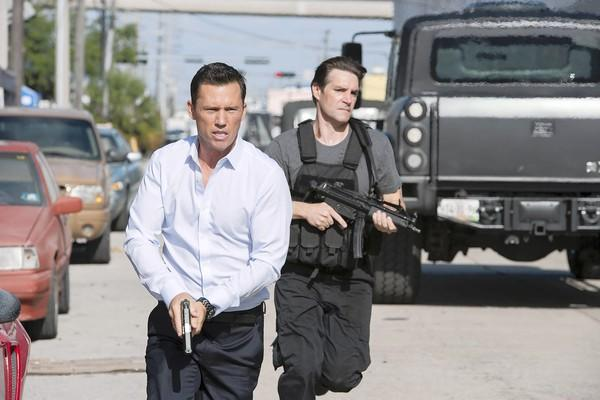 "Jeffrey Donovan, left, stars in ""Burn Notice."""