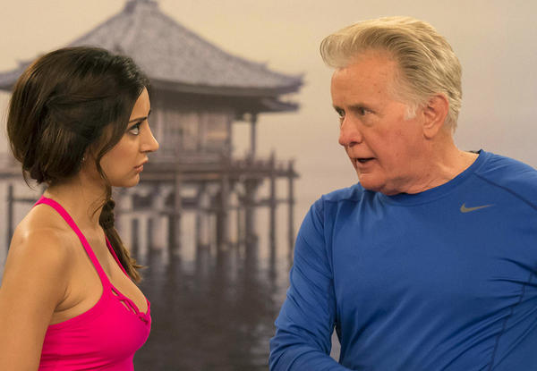 """A yoga instructor causes issues for Charlie's dad (Martin Sheen) in a new episode of """"Anger Management"""" on FX. With Noureen Dewulf."""