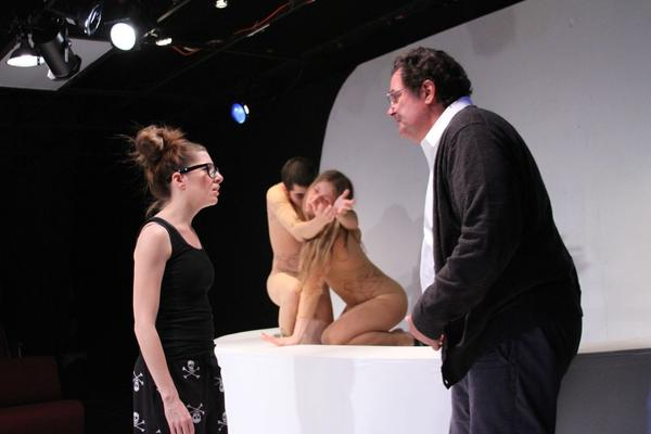"Dressed in flesh-color body suits, Kathryn Kelly and Matthew Marcus play the roles of mutants in a scene with Kelsey Painter (left) and George Tamerlani in ""Gift of Forgotten Tongues"" at Venus Theatre."