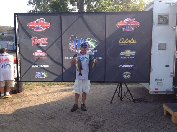 Dino Moutagiannis of Newington caught 9 lbs 9 oz in the Bass Federation Eastern Division first day