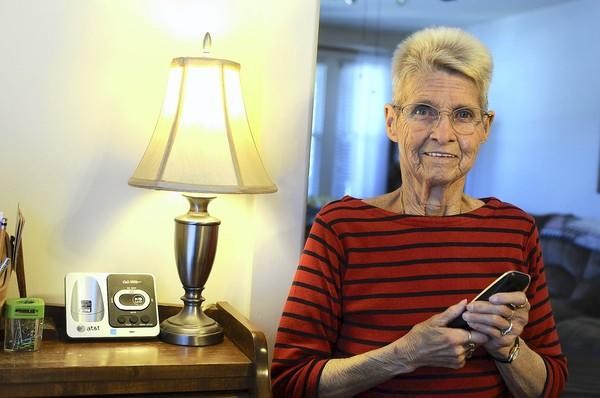 Judy Reynolds of Bethlehem has one of the grocery scam phone calls saved on her answering machine at her home.