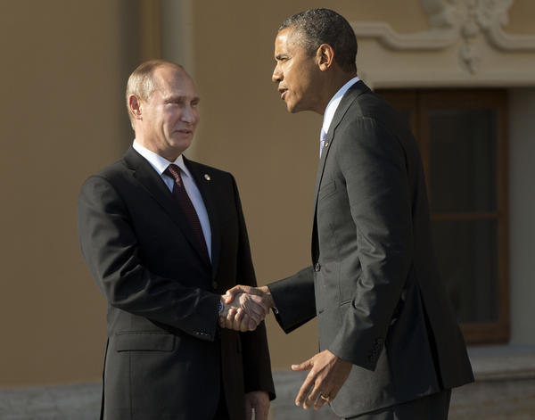President Obama greets Russian President Vladimir Putin at the G-20 summit this month at Konstantin Palace in St. Petersburg, Russia. Putin had some critical words for his American counterpart in an op-ed he wrote on the Syria crisis.