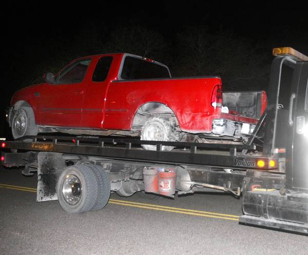 The pickup that was fired upon by a Texas trooper near the border with Mexico. Two people were killed.